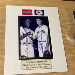 Hank Aaron Ted Williams signed  photo matted